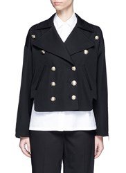 Lanvin Double Breasted Military Wool Jacket Black