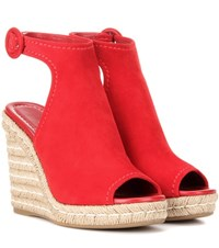 Prada Suede And Jute Wedges Red
