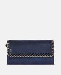 Stella Mccartney Blue Ink Falabella Chamois Wallet