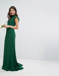 Tfnc Wedding Flutter Sleeve Fitted Maxi Dress In Chiffon Forest Green