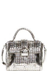 Etienne Aigner 'Small Barrel' Satchel Pewter Croco