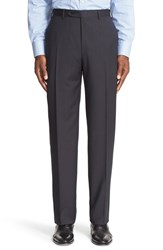 Canali Men's Big And Tall Flat Front Stripe Wool Trousers Brown