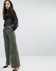 Lavand Tie Waist Trousers Green