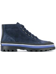 Valentino Garavani Lace Up Boots Men Leather Polyester Rubber 42 Blue