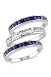 Created Blue And White Sapphire Semi Eternity Rings