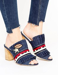 Kg By Kurt Geiger Keiger Mistress Denim Heeled Mules Blue Denim