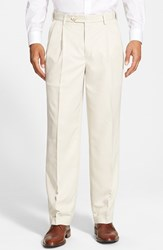 Men's Big And Tall Berle Self Sizer Waist Pleated Trousers Stone