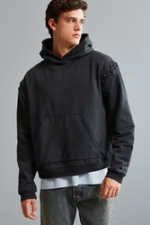 Urban Outfitters Malone Lace Up Hoodie Sweatshirt Black