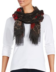 Lord And Taylor Printed Scarf Red