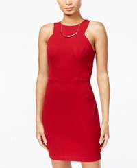 Teeze Me Juniors' Ruffled Back Bodycon Dress Red
