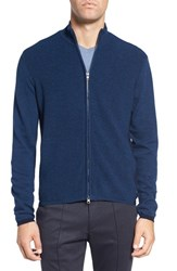 Zachary Prell Men's Zip Front Merino Cardigan Blue