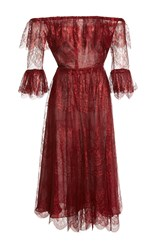 Maria Lucia Hohan Melissa Off The Shoulder Lace Dress Burgundy