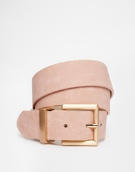 Asos Blush Belt With Rose Gold Buckle Detail Pink