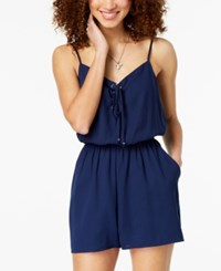 One Clothing Juniors' Lace Up Romper Navy
