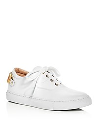 Moschino Logo Charm Lace Up Sneakers White