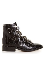 Givenchy Crocodile Effect Leather Ankle Boots Black