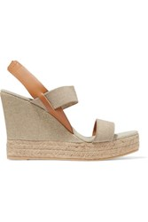 Tory Burch Canvas And Leather Wedge Sandals Mushroom