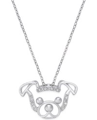 Macy's Diamond Dog Face Pendant Necklace 1 10 Ct. T.W. In Sterling Silver