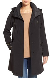 Women's Gallery Two Tone Silk Look A Line Raincoat