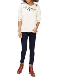 Joules Hayfield Embroidered Sweatshirt Cream Rose Embroidery