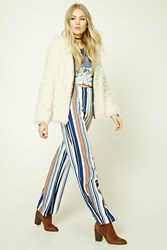 Forever 21 Striped Palazzo Pants Ivory Multi