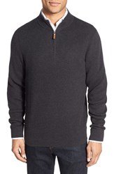 Nordstrom Men's Big And Tall Men's Shop Cotton And Cashmere Rib Knit Sweater Grey Dark Charcoal Heather