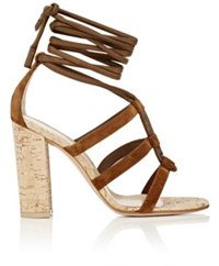 Gianvito Rossi Women's Cayman Suede Ankle Tie Sandals Brown