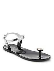 Giuseppe Zanotti Rhinestone Accented Metallic Leather Sandals Silver