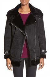 Petite Women's Laundry By Shelli Segal Faux Shearling Moto Jacket Black
