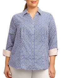 Foxcroft Plus Printed Three Quarter Sleeve Shirt Grey