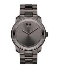Movado Unisex Bold Gunmetal Tone Watch With Link Bracelet Gun Metal