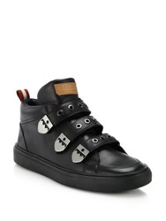Bally Heck Triple Grip Tape Strap Leather Sneakers Black