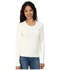Lacoste Long Sleeve Cotton Cable Knit Sweater Cake Flour White Women's Sweater