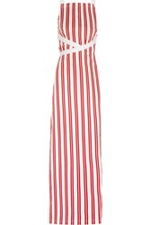 Balenciaga Canvas Trimmed Striped Cotton Maxi Dress Red