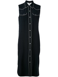 Rag And Bone Sleeveless Shirt Dress Women Silk M Blue
