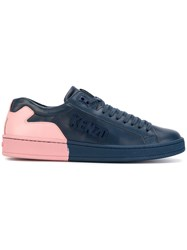 Kenzo Lace Up Sneakers Calf Leather Leather Rubber Blue