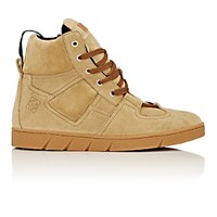 Loewe Men's Padded Detail Suede Sneakers Nude