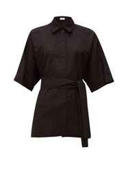 Raey Dolman Sleeve Silk Blend Shirt Black