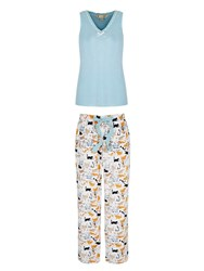 Yumi Cat Print Pyjamas Blue