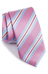 David Donahue Men's Stripe Silk Tie Pink
