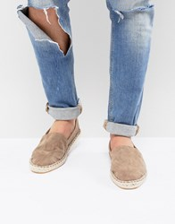 Asos Design Espadrilles In Stone Faux Suede With Back Pull