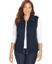 Karen Scott Plus Size Quilted Zip Front Vest Intrepid Blue