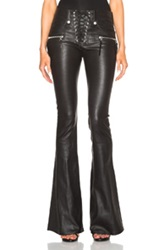 Unravel Lace Front Flare Leather Pants In Black