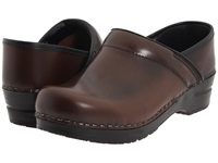 Sanita Professional Cabrio Brown Brush Off Leather Women's Clog Shoes