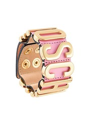 Moschino Logo Plaque Bracelet Pink And Purple