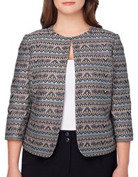 Tahari By Arthur S. Levine Plus Tribal Printed Open Jacket Mint