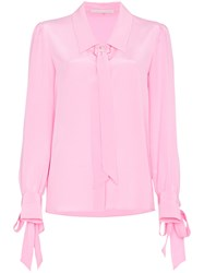 Marco De Vincenzo Long Sleeve Silk Shirt With Bows Pink And Purple