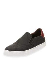 Burberry Copford Perforated Check Leather Slip On Sneaker Black
