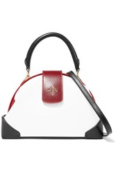 Manu Atelier Demi Mini Suede Trimmed Leather Shoulder Bag White