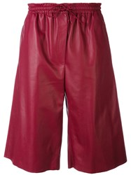 Joseph Drawstring Knee Length Shorts Women Nappa Leather 40 Red